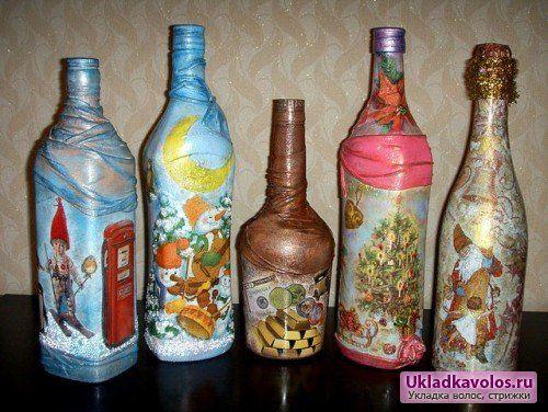 Декупаж пляшок для свята